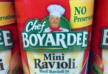 Chef Boyardee Mini Ravioli in a can
