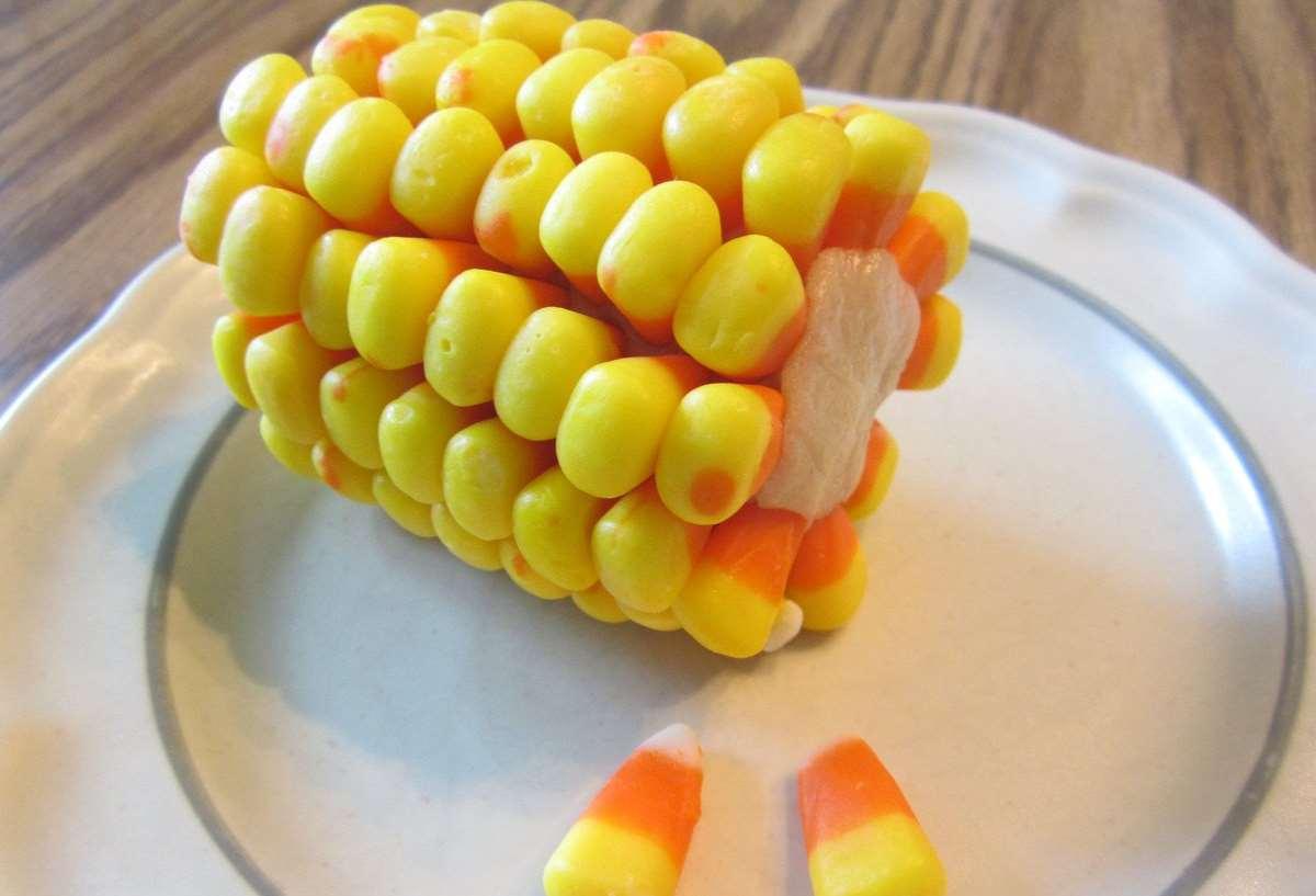 candy corn looking like corn on the cob