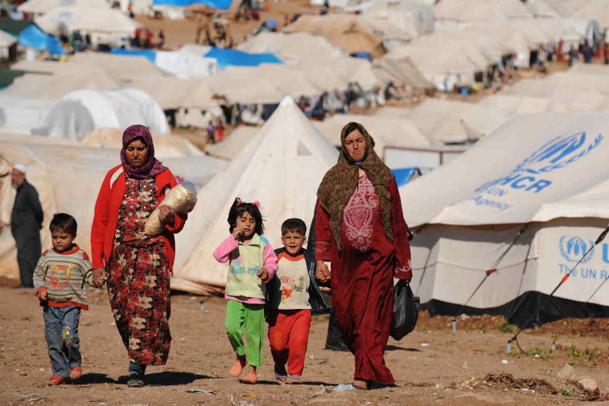 Syrian refugees in a UN camp
