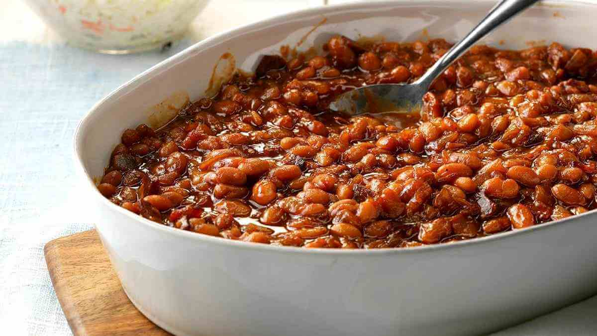 A typical dish of baked beans