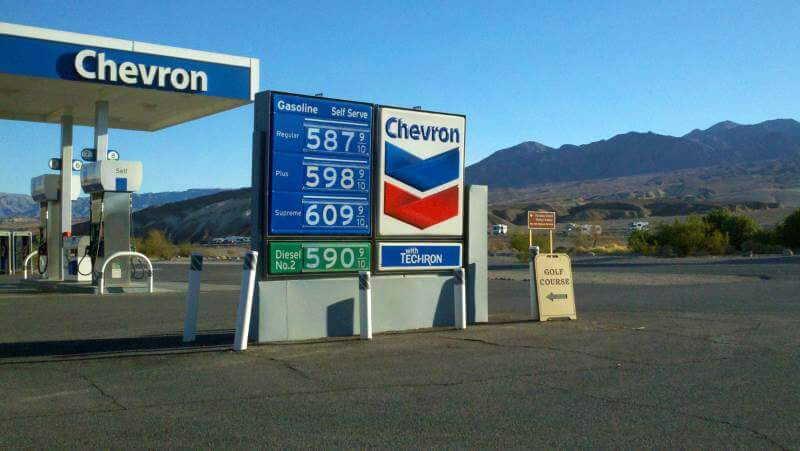 Gas prices in Furnace Creek, California in Death Valley.